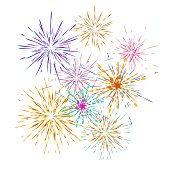 Set of different fireworks explosions. Vector holiday firework.  For celebration, winner, victory poster Independence day of America background