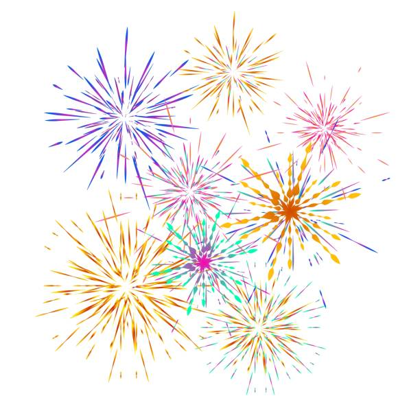Set of different fireworks explosions. Vector holiday firework.  For celebration, winner, victory poster Set of different fireworks explosions. Vector holiday firework.  For celebration, winner, victory poster Independence day of America background fireworks stock illustrations