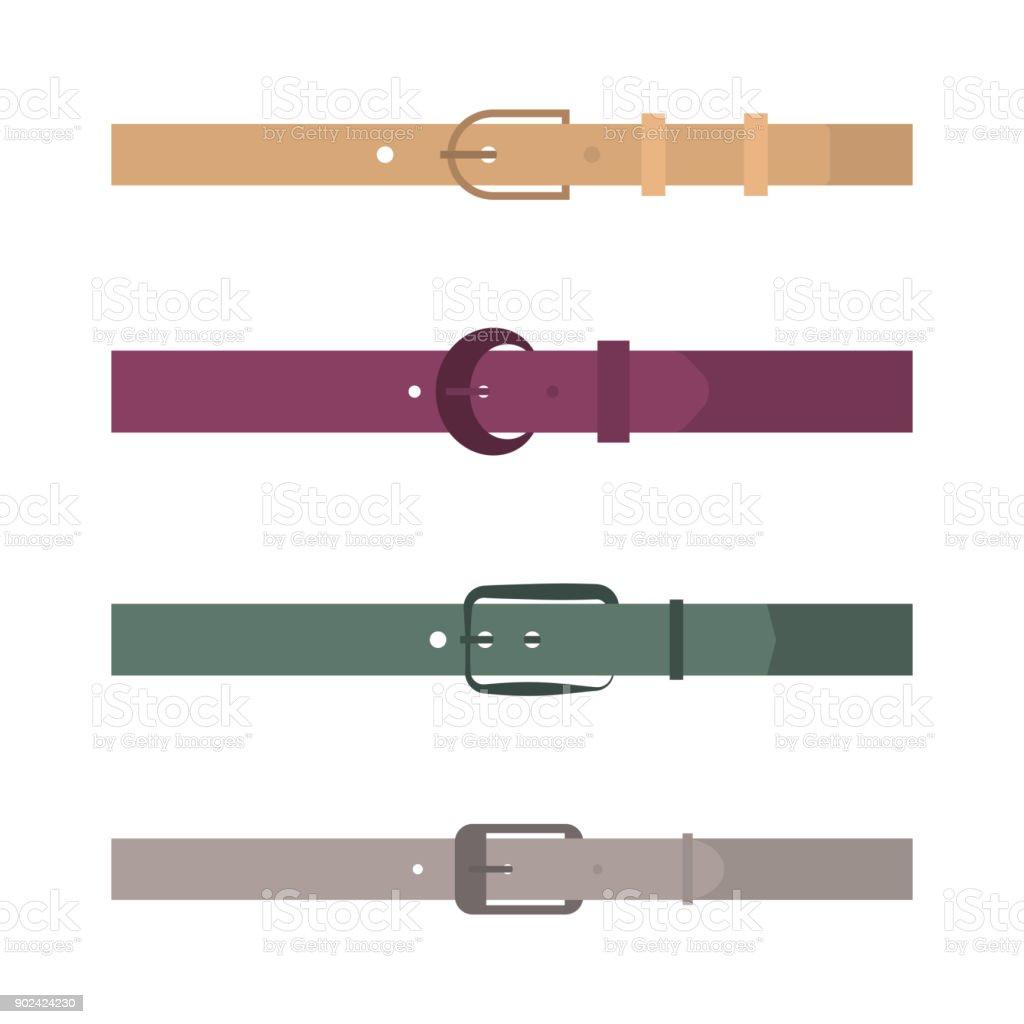 Set of different flat colored belts, vector illustration. vector art illustration