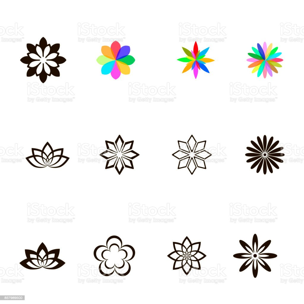 Set of different flowers. vector vector art illustration