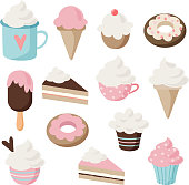 Set of different food and drink icons. Isolated retro illustrations of cakes, doughnuts, ice cream, sundae, coffee, cupcakes, muffins.