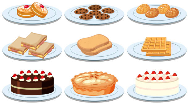 Set of different foods Set of different foods illustration bread clipart stock illustrations