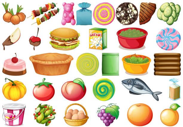 set of different foods - pumpkin pie stock illustrations