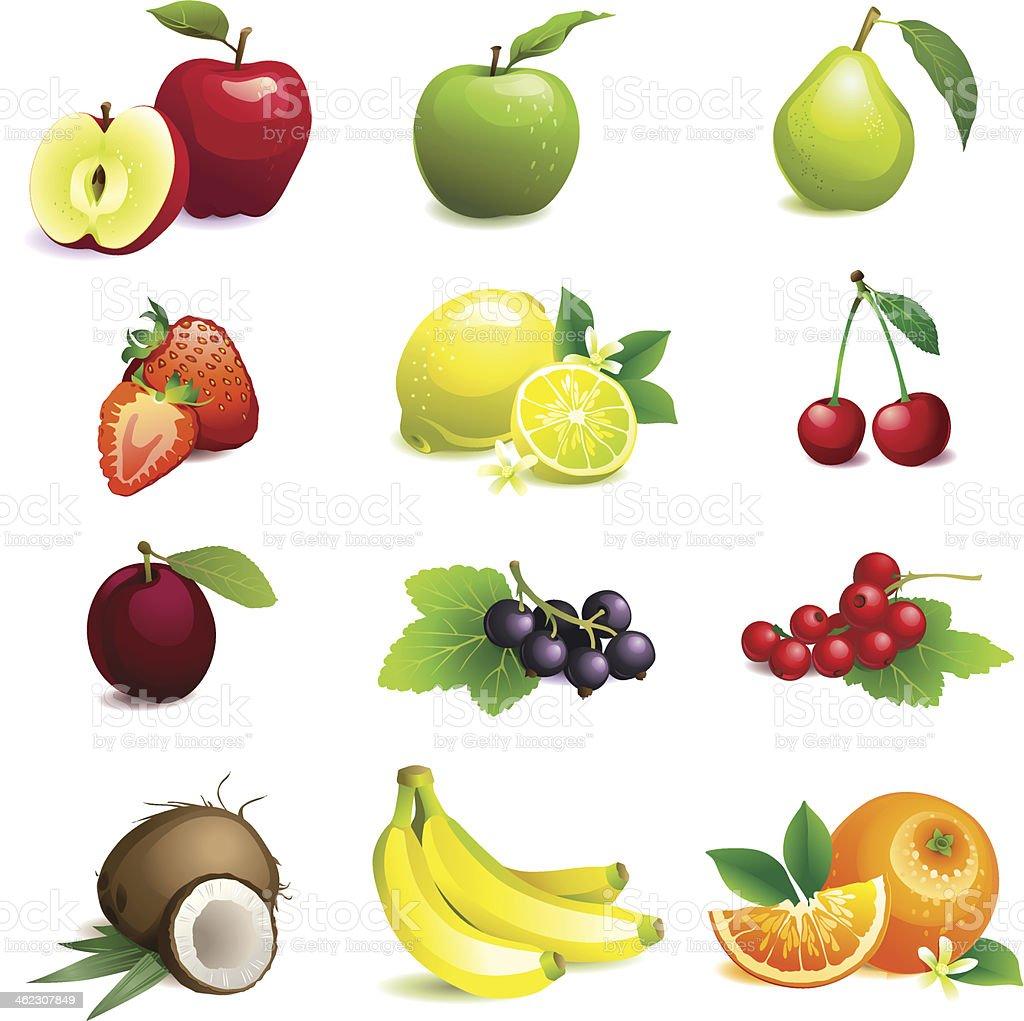 Лист с картинками разных фруктов
