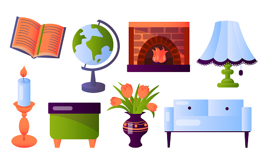 Set of different furniture and interior home items. Vector illustration in flat cartoon style.