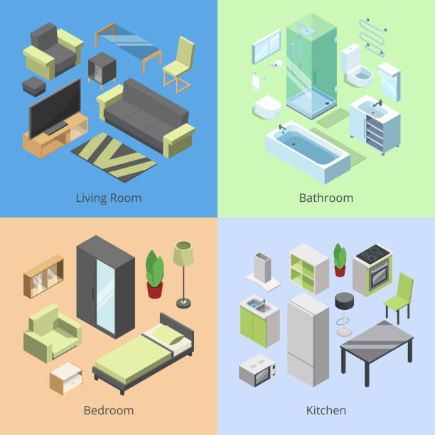 Set of different furniture elements for rooms in modern home. Vector isometric illustrations of kitchen, bedroom, living room, and bathroom Set of different furniture elements for rooms in modern home. Vector isometric illustrations of kitchen, bedroom, living room, and bathroom. Living room interior isometric in home bedroom borders stock illustrations