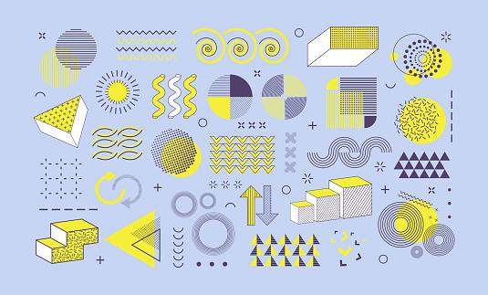 Set of different geometric shapes  graphic design. Retro halftone decorative elements