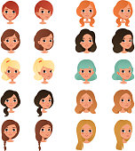 Set of different girl s hair styles and colors black, blue, blonde, red, brown. Female teens with big shiny eyes. Human head icons. Design for game avatar. Flat vector illustration isolated on white.