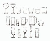 Set of different glass , hand drawn illustration in sketch style. Vector eps10.