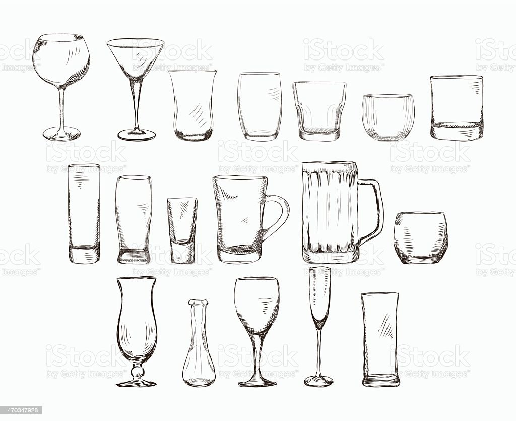 Set of different glass , hand drawn illustration in sketch style. vector art illustration