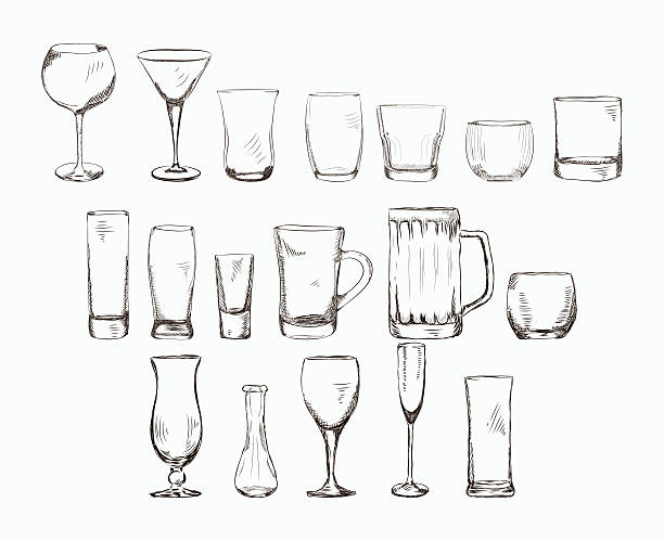set of different glass , hand drawn illustration in sketch style. - alcohol drink drawings stock illustrations
