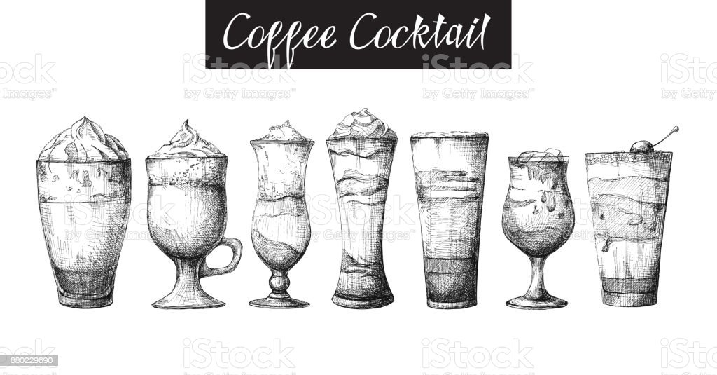 Set of different glasses, different coffee cocktails. Vector illustration of a sketch style. vector art illustration