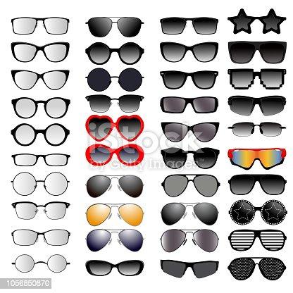 Set of different glasses. Vector illustration