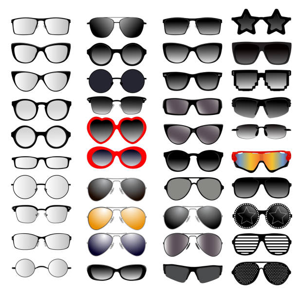 set of different glasses - okulary stock illustrations