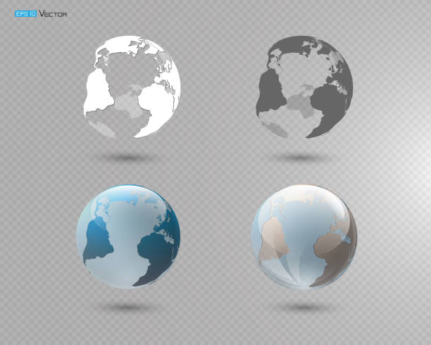 illustrazioni stock, clip art, cartoni animati e icone di tendenza di set of different globes - glass world