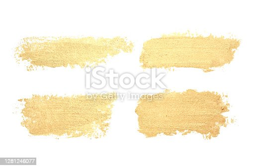 Vector set of different gold lipstick smears isolated on white background. Glittering hand drawn smudges. Vintage elements.