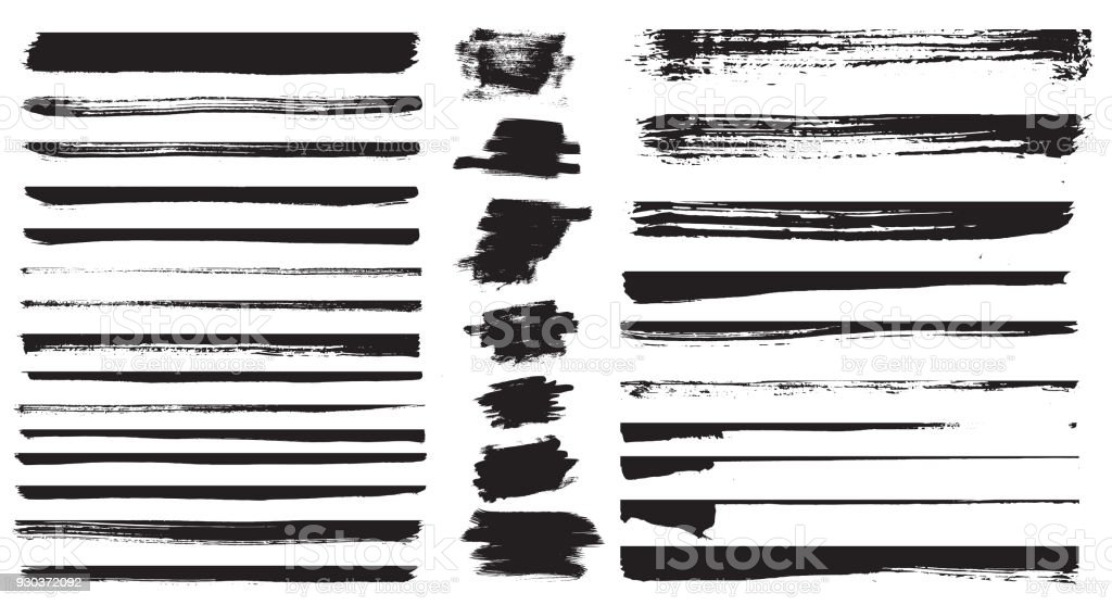 Set of different grunge brush strokes. Set of grunge dividers. - Royalty-free Abstract stock vector