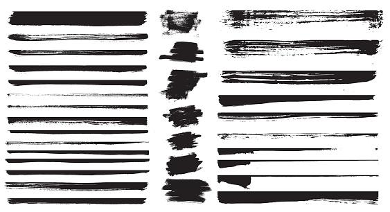 Set of different grunge brush strokes. Set of grunge dividers.