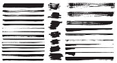 Set of different grunge brush strokes. Vector illustration. Set of grunge dividers.