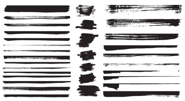 Set of different grunge brush strokes. Set of grunge dividers. Set of different grunge brush strokes. Vector illustration. Set of grunge dividers. in a row stock illustrations