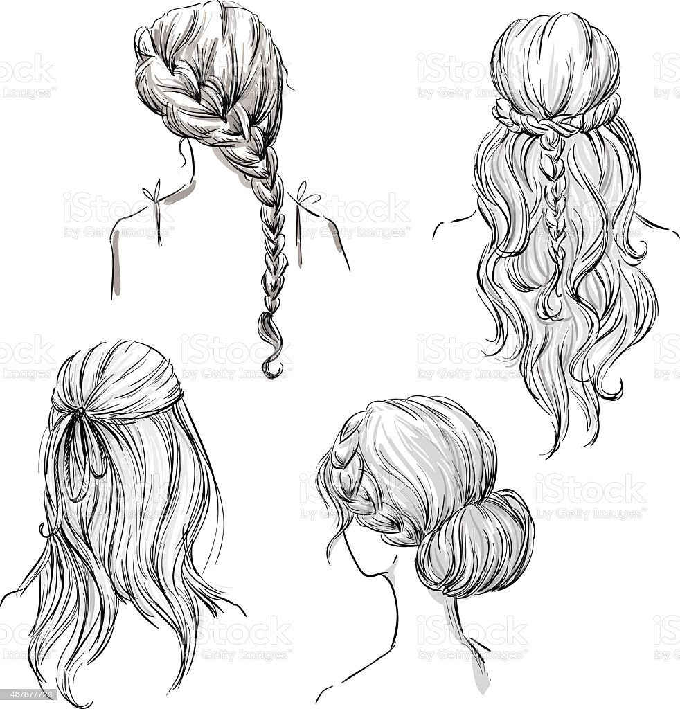 set of different hairstyles. Hand drawn. Black and white vector art illustration