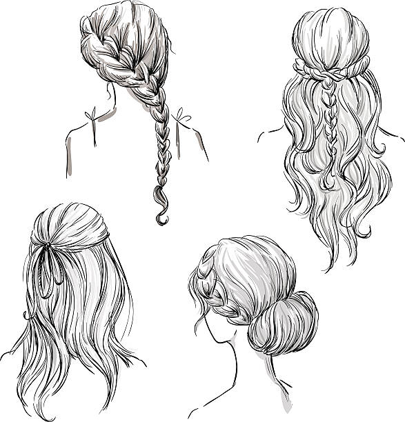 set of different hairstyles. hand drawn. black and white - prom fashion stock illustrations, clip art, cartoons, & icons