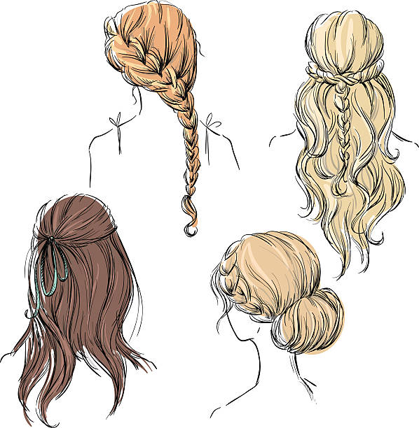 set of different hairstyles. hand drawn. - prom fashion stock illustrations, clip art, cartoons, & icons