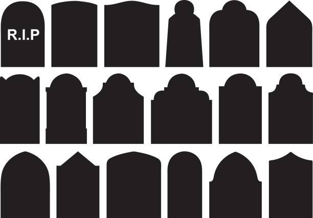 set of different halloween gravestones - tombstone stock illustrations, clip art, cartoons, & icons