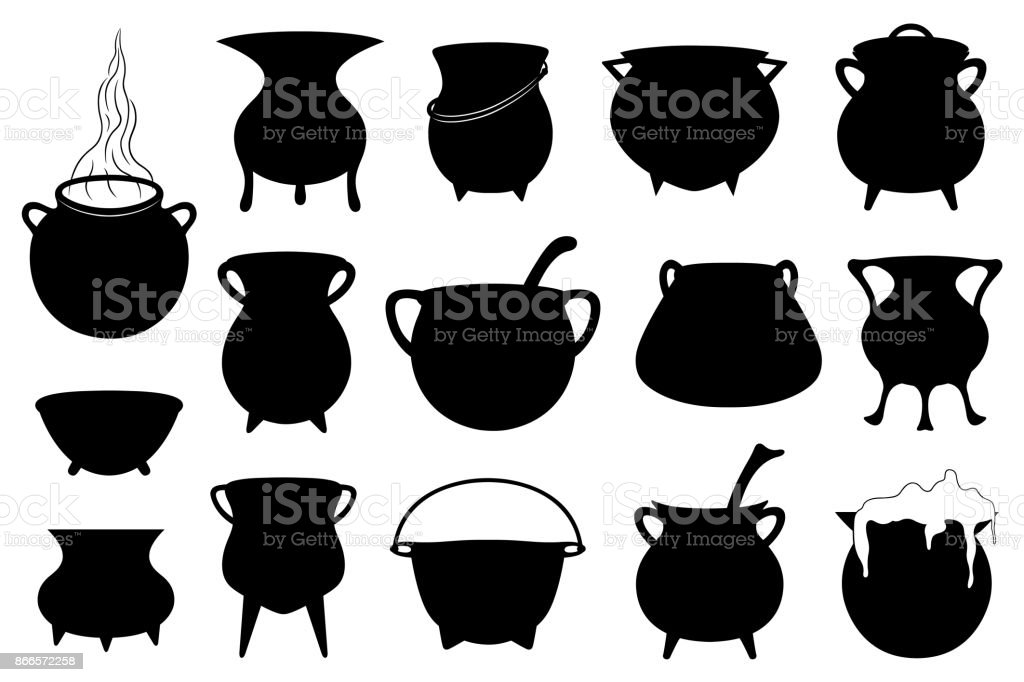 Set of different Halloween witches pots vector art illustration