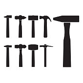 Set of different hammer silhouette icons, isolated on white background