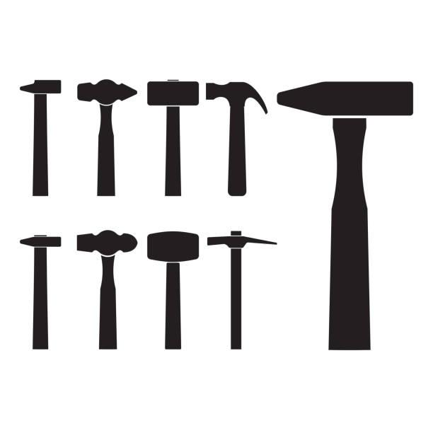 stockillustraties, clipart, cartoons en iconen met set van verschillende hamer silhouet - hamer