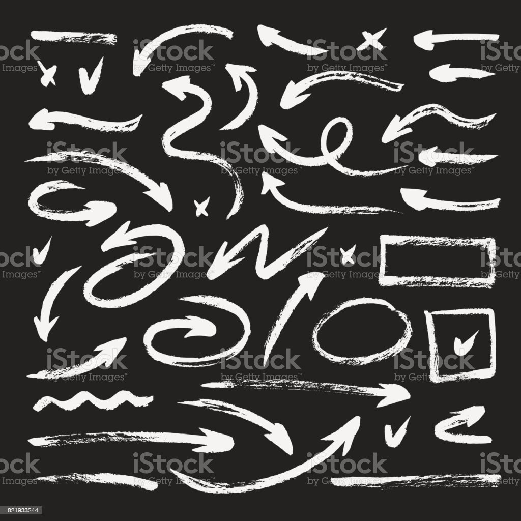 Ensemble de flèches de grunge différents dessinés à la main, coups de pinceau. Texture de craie - Illustration vectorielle
