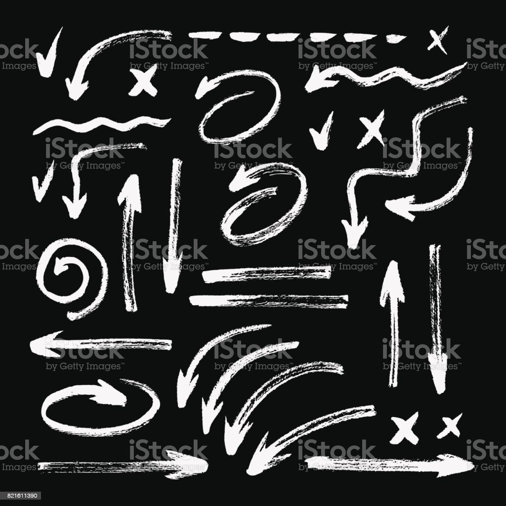 Set of different hand drawn grunge brush strokes, arrows. Isolated on black background - illustrazione arte vettoriale
