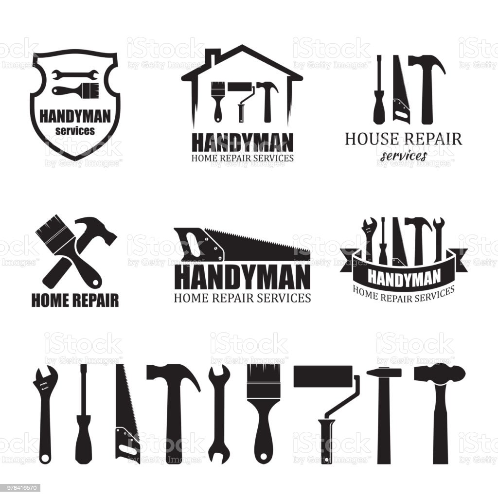 Set of different handyman services icons vector art illustration