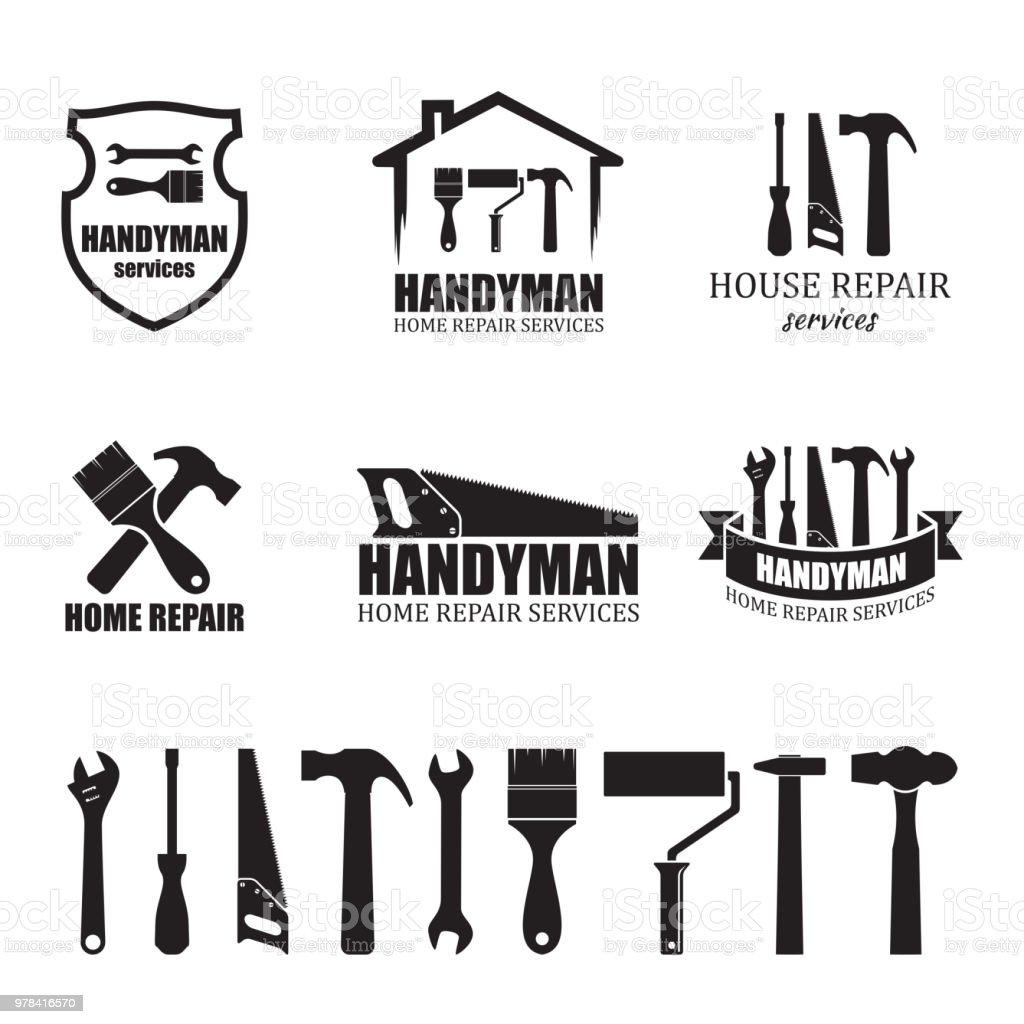 Conjunto de ícones de serviços faz-tudo diferente - ilustração de arte em vetor
