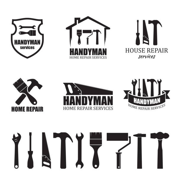set of different handyman services icons - tools stock illustrations