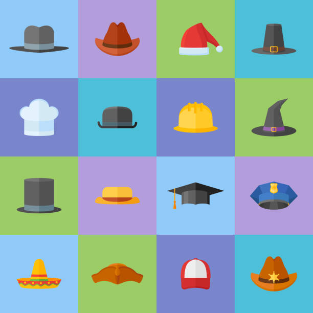 Set of different hats flat style icons. vector art illustration