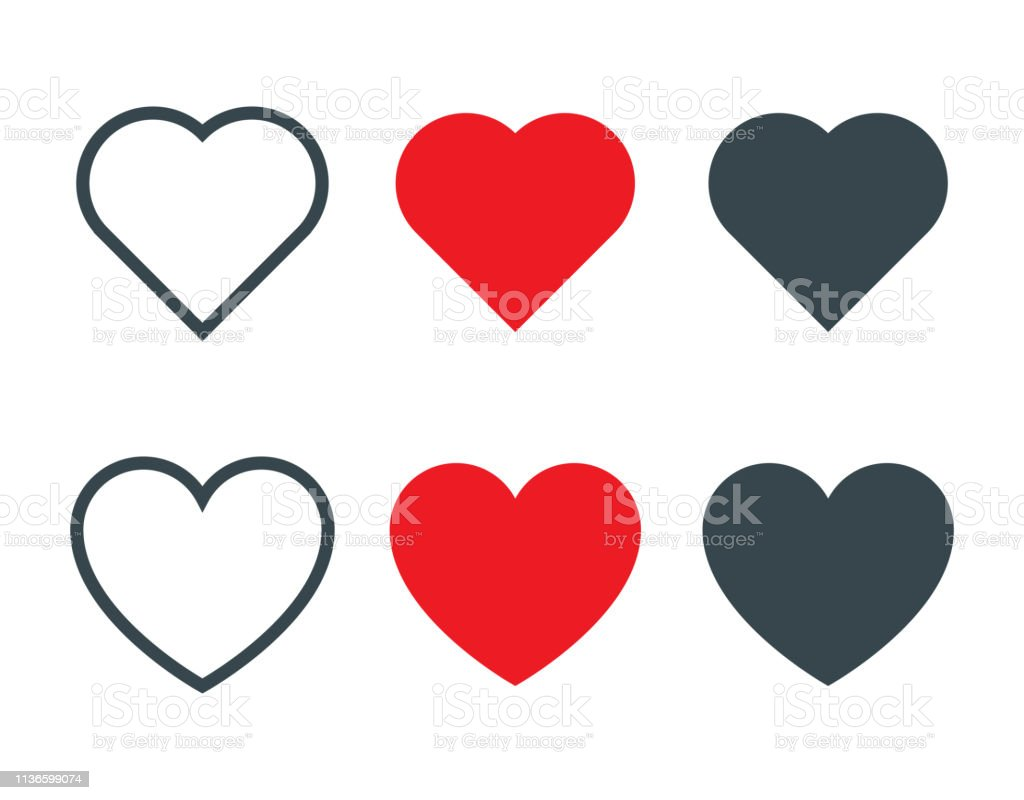 Set of different heart shapes icon - Royalty-free Amor arte vetorial