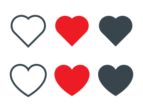 set of different heart shapes icon - serce symbol idei stock illustrations