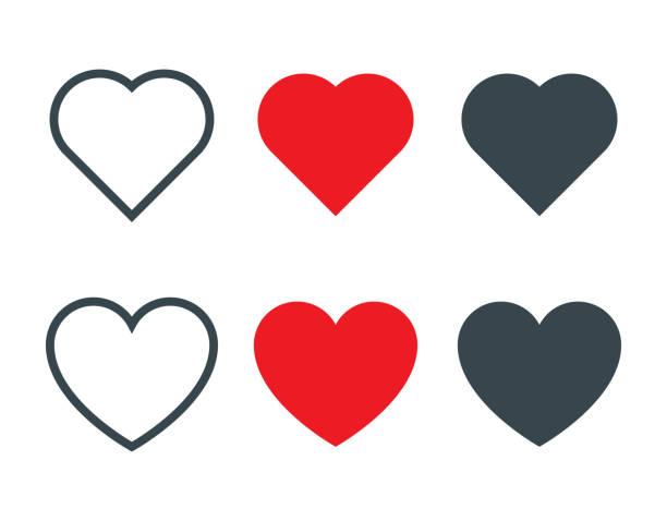 set von verschiedenen herzformen ikone - heart stock-grafiken, -clipart, -cartoons und -symbole
