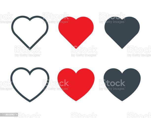 Set Of Different Heart Shapes Icon - Arte vetorial de stock e mais imagens de Amor