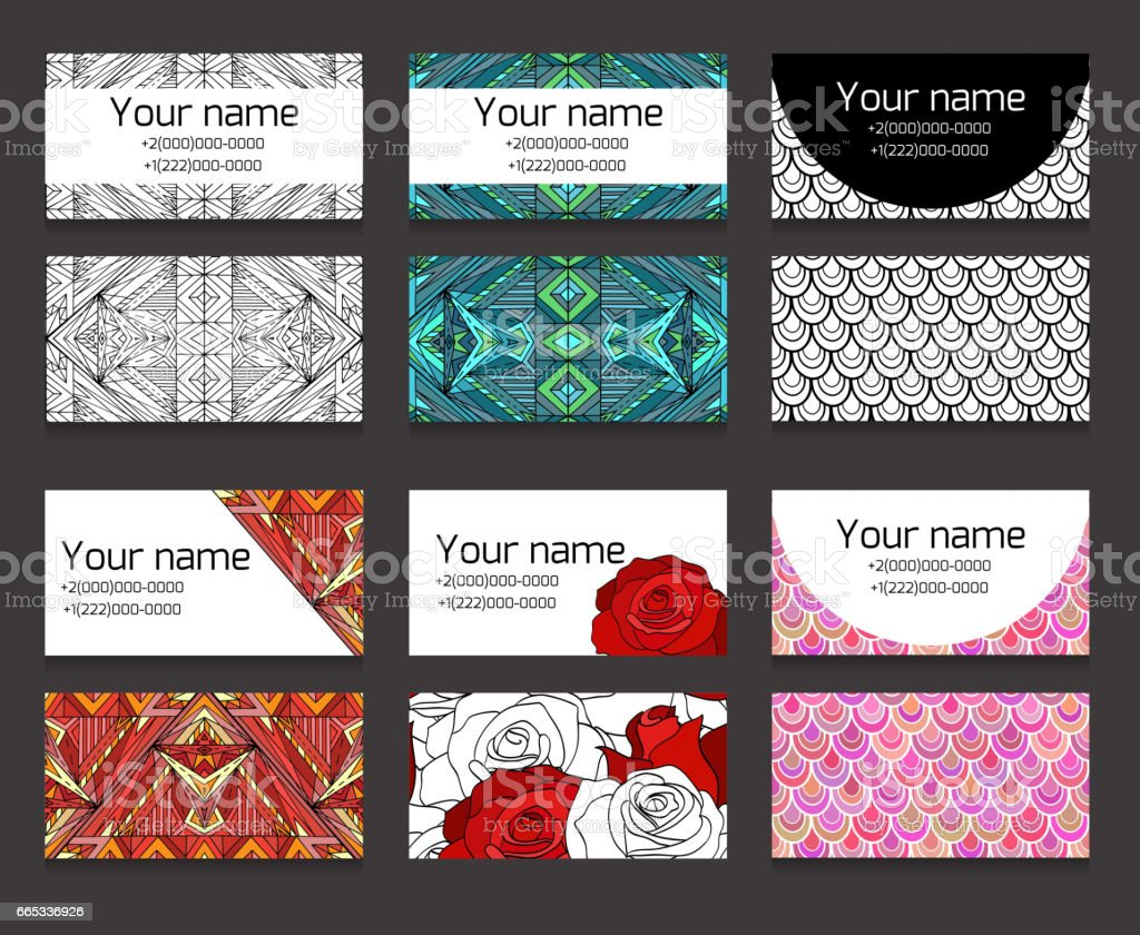 Set Of Different Horizontal Business Cards Templates Boho Patterns ...