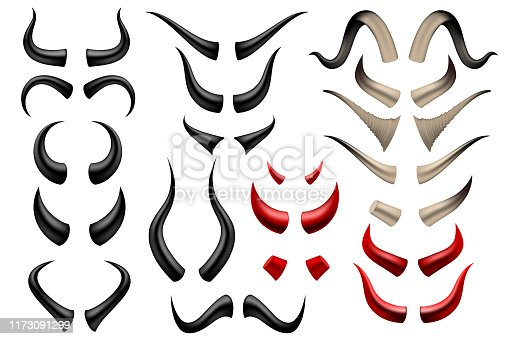 Set of different horns on white background in vector