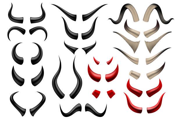 Set of different horns on white background Set of different horns on white background in vector horned stock illustrations