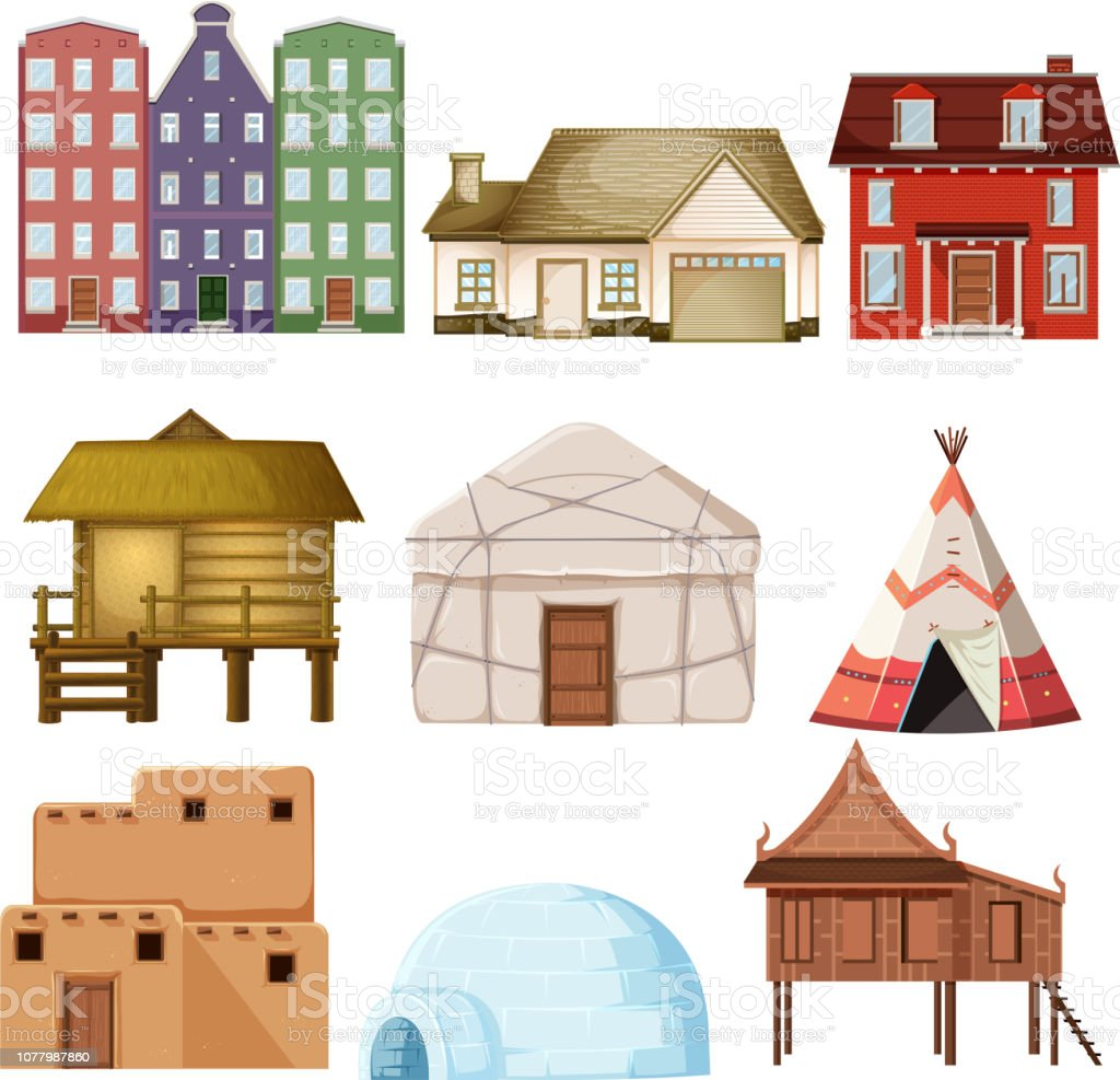 Set of different house style vector art illustration
