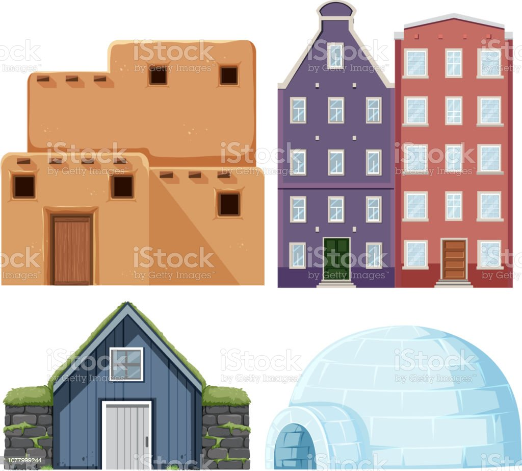 Set of different house vector art illustration