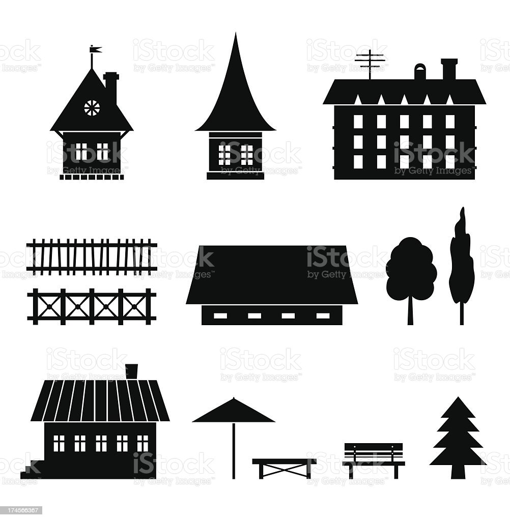 Set of different houses royalty-free stock vector art