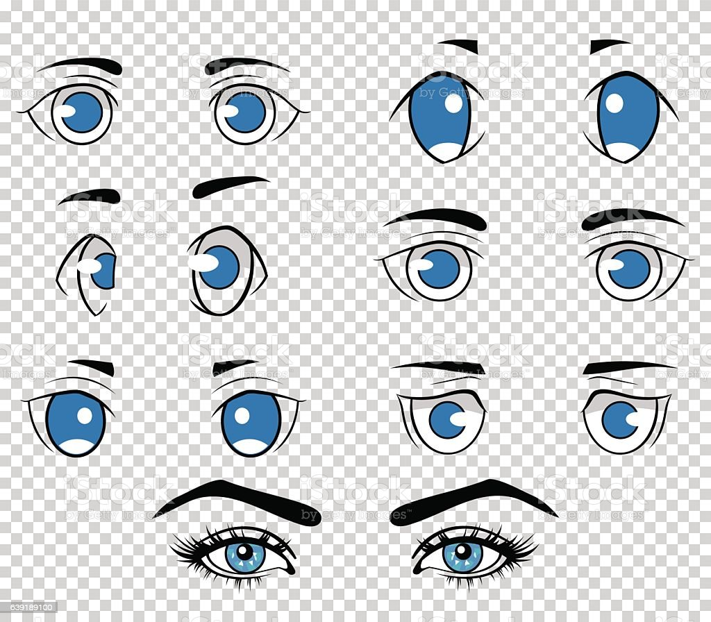 Set of different human and anime eyes cartoon girl face royalty free set of