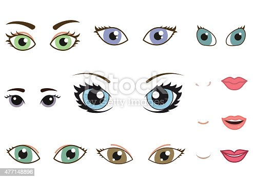 istock Set of different human eyes, eyebrows, noses and lips 477148896