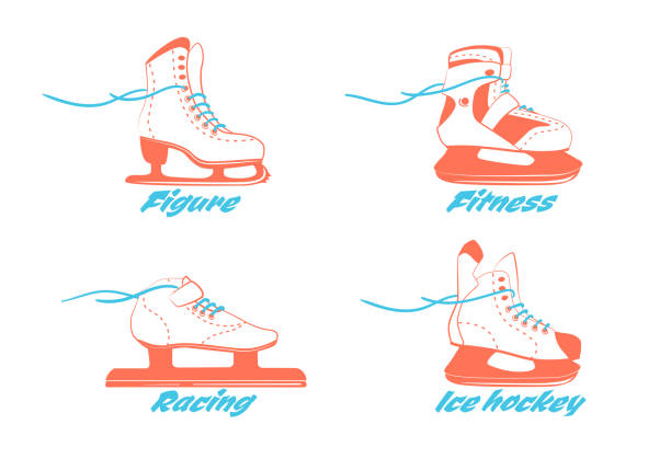 set of different ice skates - figure, fitness, Racing, hockey. Type of ice skate boots. Winter sport equipment logo in vintage colors. Vector Illustration isolated on white back set of different ice skates - figure, fitness, Racing, hockey. Type of ice skate boots. Winter sport equipment logo in vintage colors. Vector Illustration isolated on white background. figure skating stock illustrations